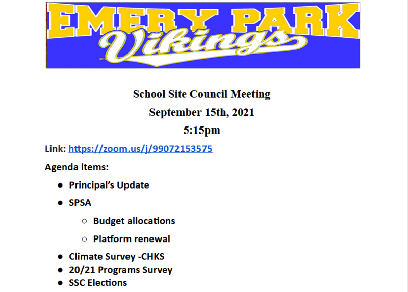 SCHOOL SITE COUNCIL MEETING THIS WEDNESDAY! NEW DATE 9/22nd at 5:15 Featured Photo