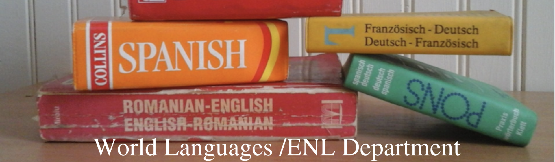 Foreign language dictionaries on a desk