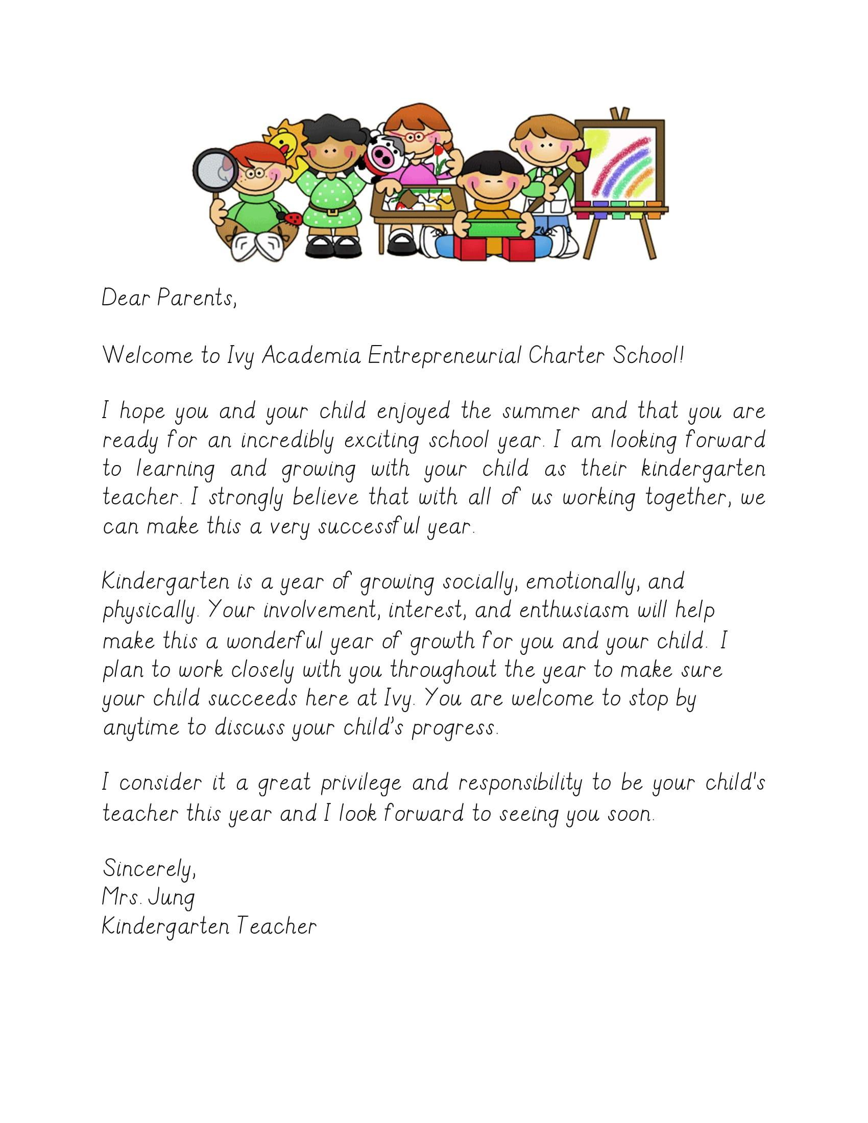 Welcome Letter – Mrs  Jenny Jung – Ivy Academia