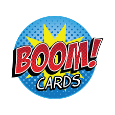 Boom Cards comic logo blue yellow red