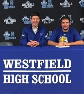 Westfield High School senior George Snell signs Letter of Intent to join the golf team at Johnson & Wales University – North Miami.  Pictured here with Coach Ryan Daly.