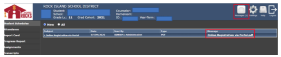 Parent Portal Screen Shot