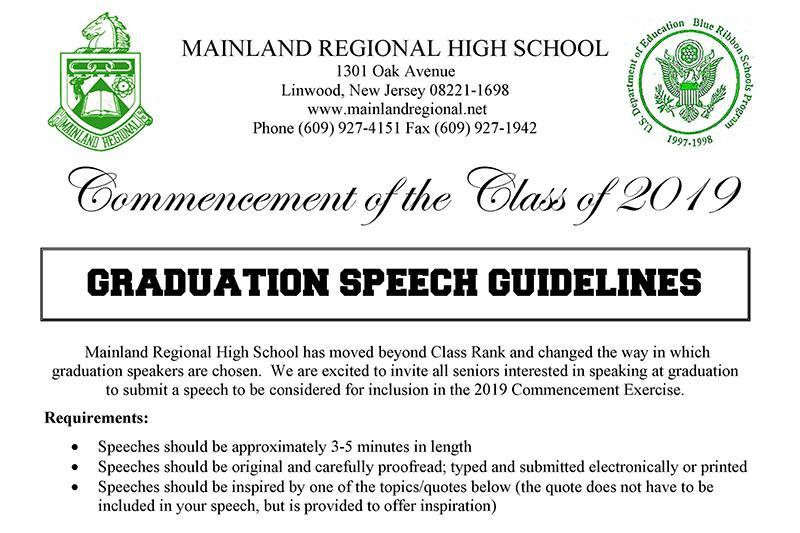 MRHS graduation speech info