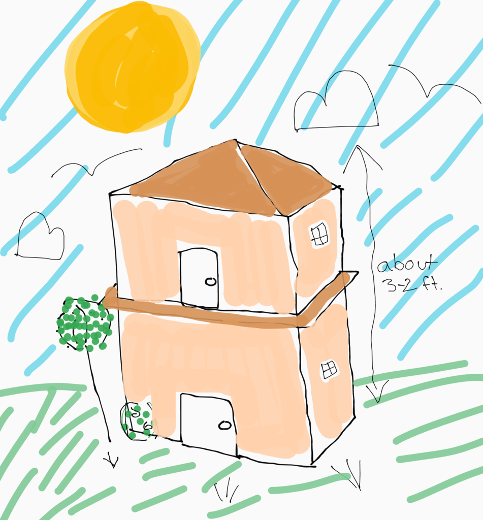 drawing of house with sun in background