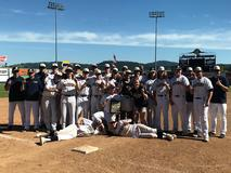 2018 Mead baseball team after winning a playoff game at Avista stadium against Chiawana high school.