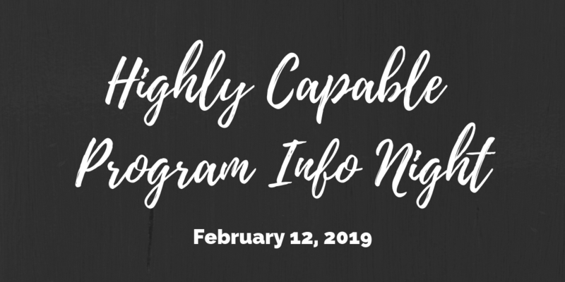 Highly Capable Program Info Night: February 12, 2019 Thumbnail Image
