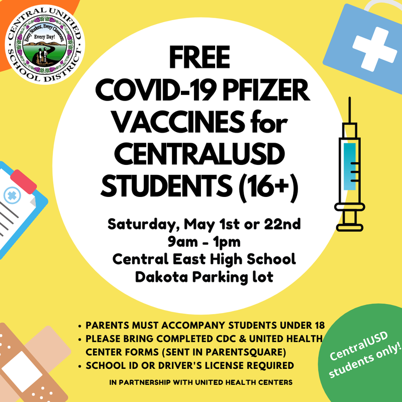 Free COVID-19 Vaccines Central Students