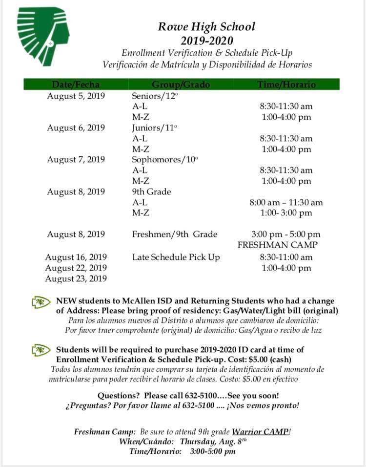 Rowe Schedule Pick ups