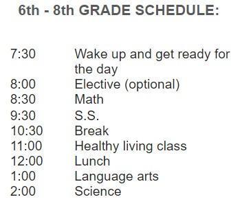 6-8 Schedule