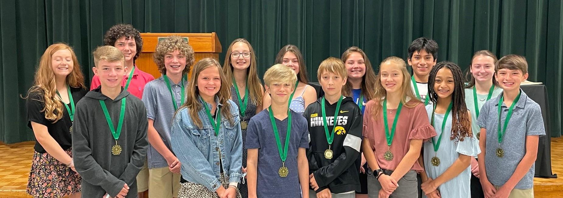 a picture of the 7th Grade virtue award winners