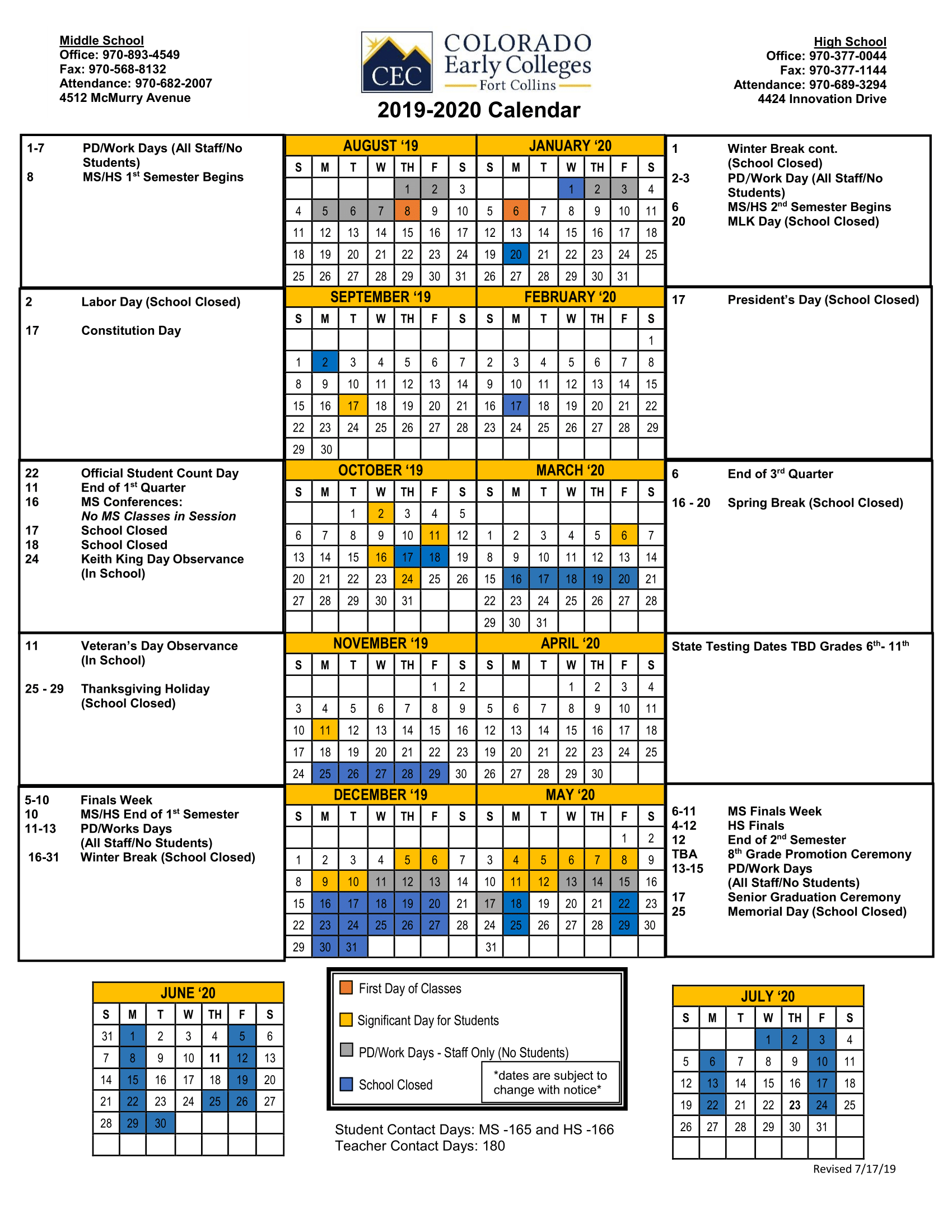 Official School Calendar 19-20