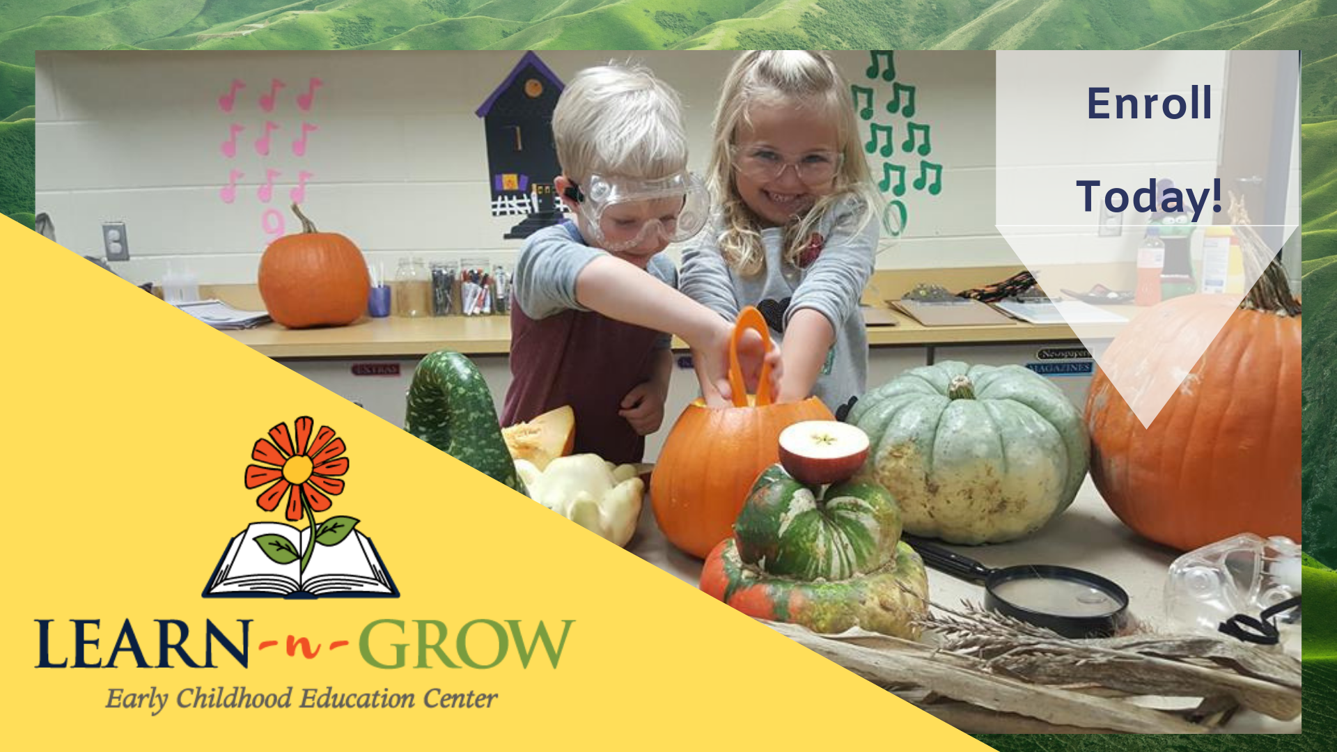Two students digging in a pumpkin with learn n grow logo and flag with enrollment date.