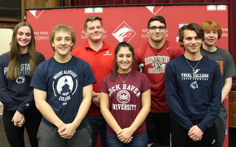 Group photo of seven student athletes