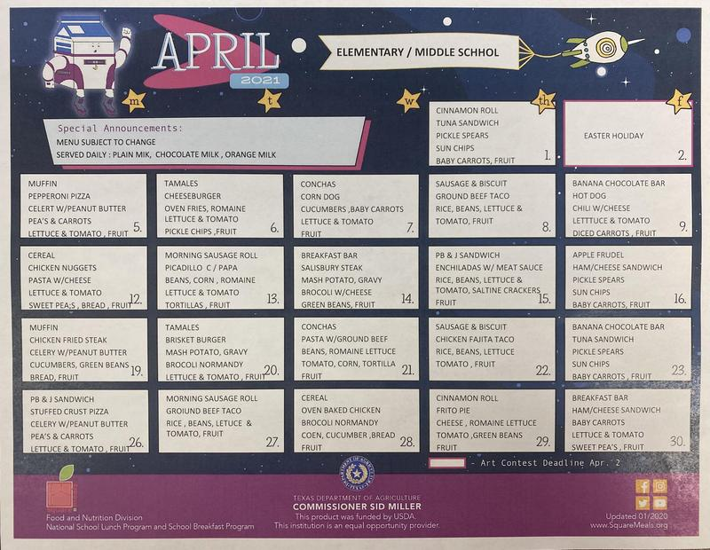 April Cafeteria Menu Featured Photo