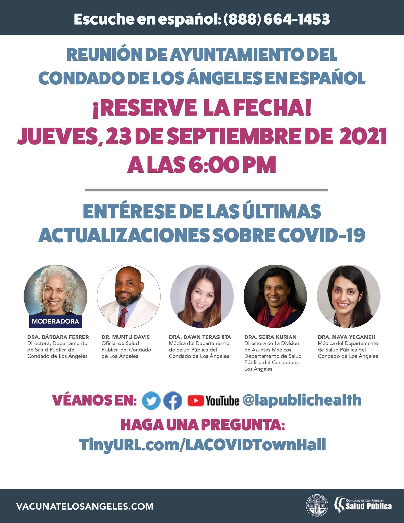 LA County COVID-19 Virtual Town Hall flyer in Spanish stating all the information listed above