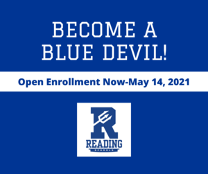 Become a Blue Devil - open enrollment now through May 14, 2021 Reading Community City Schools