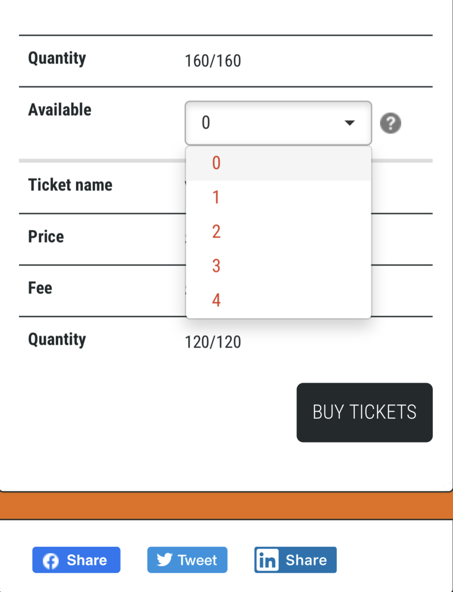 select number of tickets
