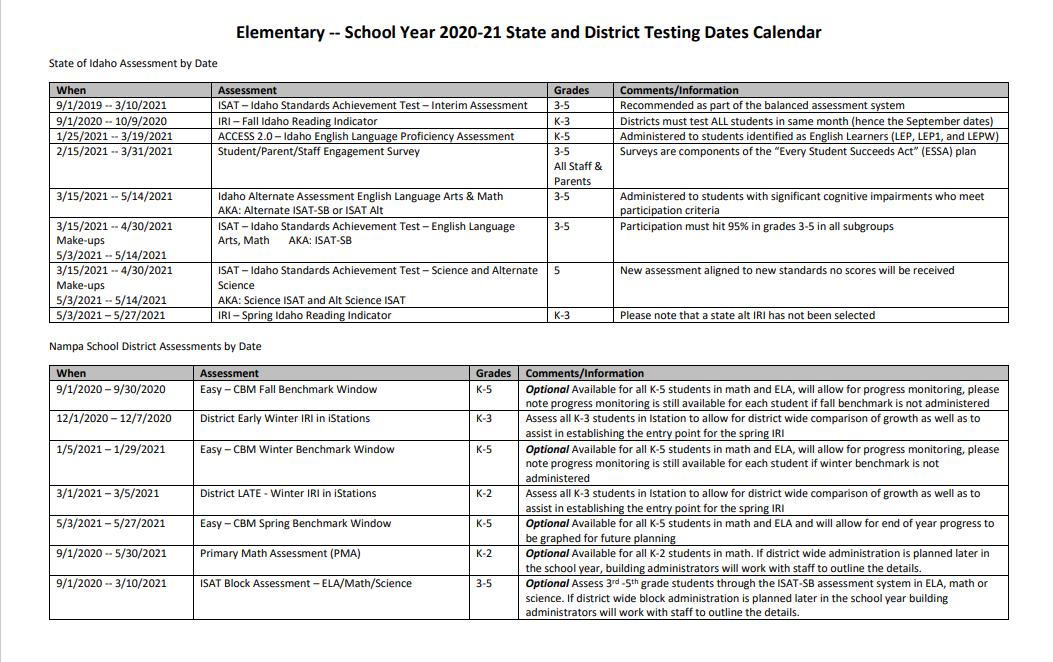 Elementary Testing Dates