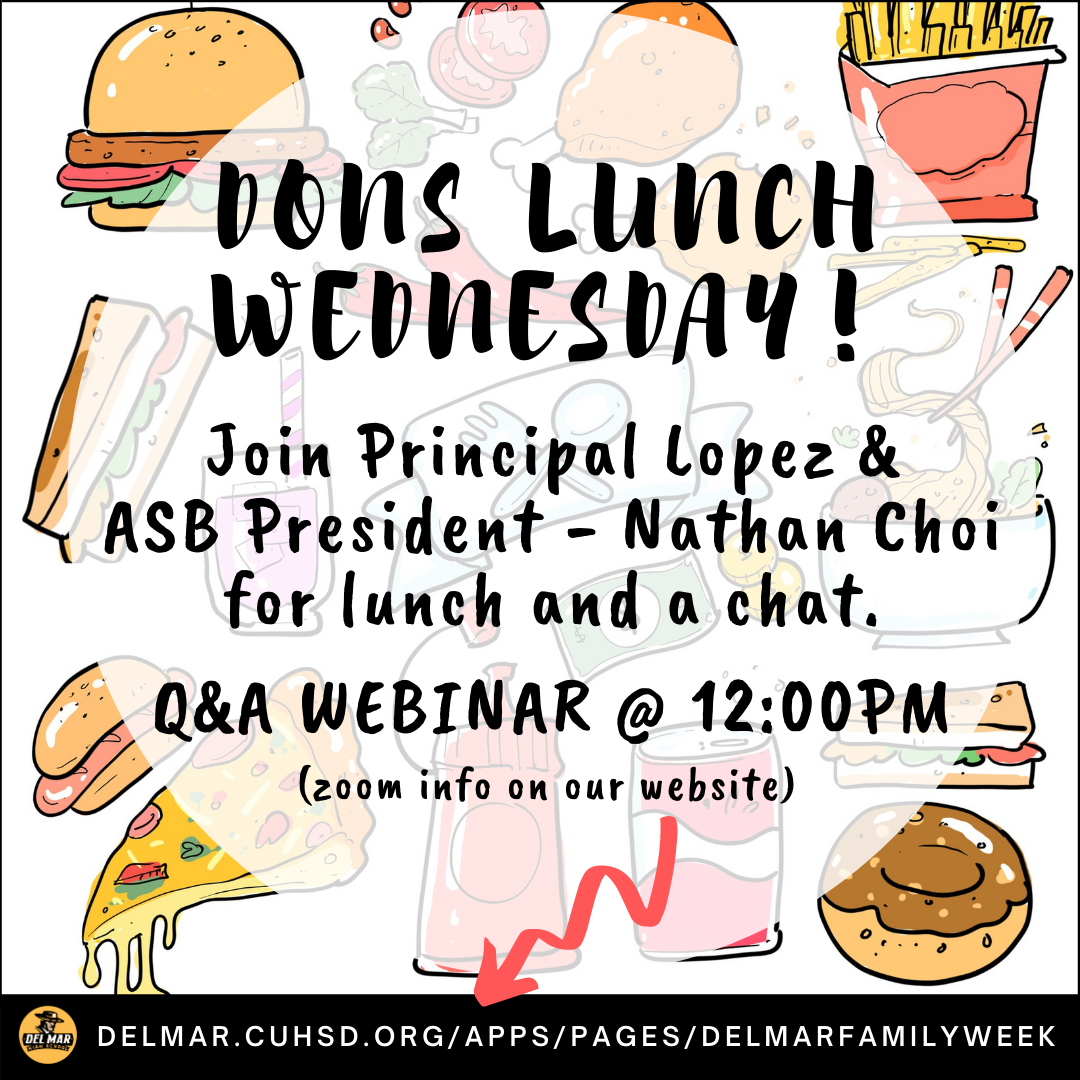 image of del mar family week q&a webinar for students flyer