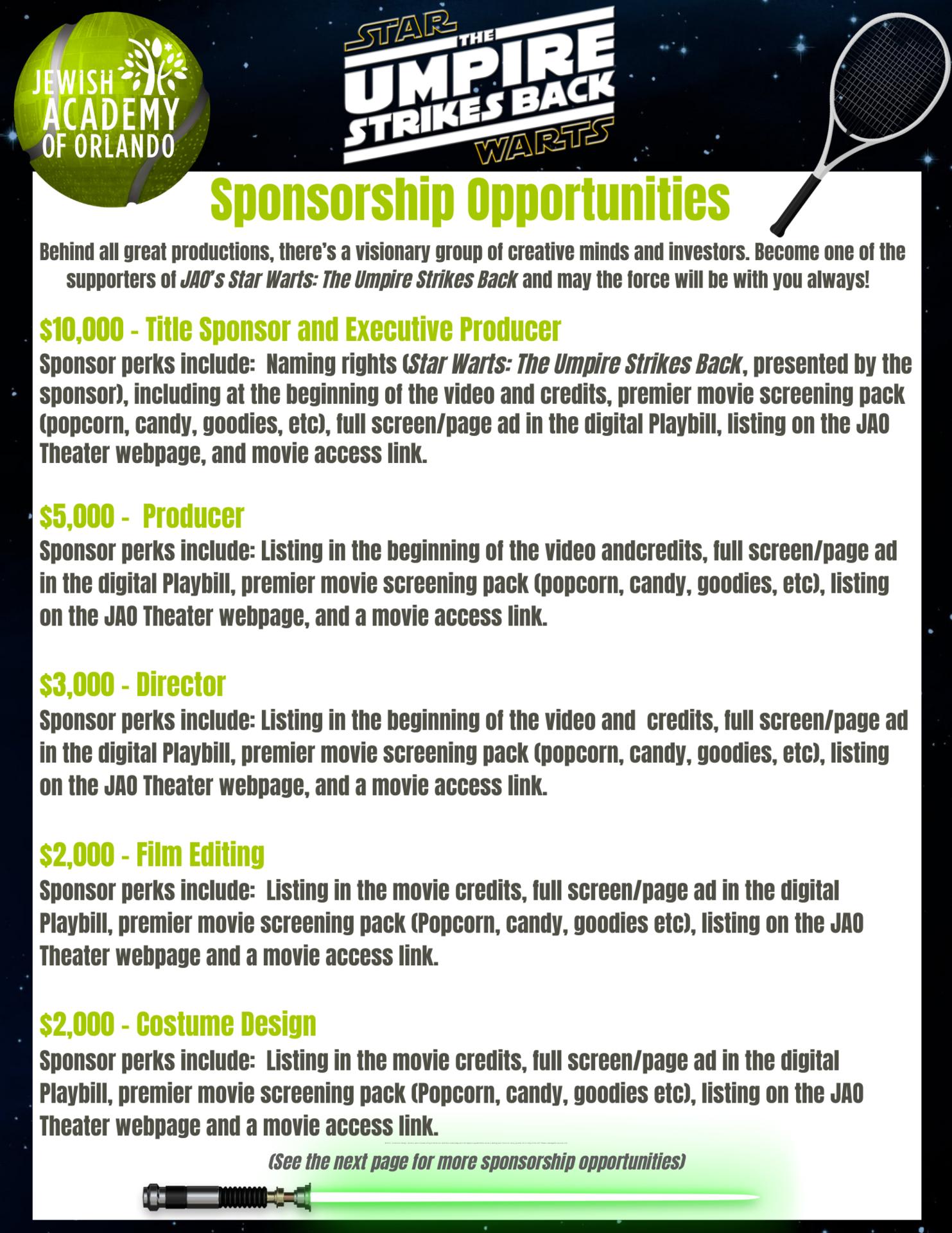 Sponsorship levels flyer page 1