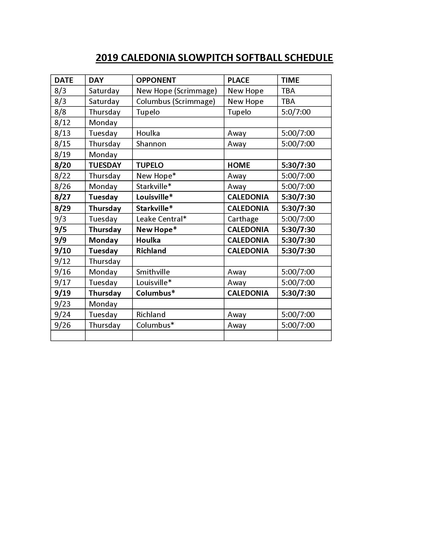 slow pitch softball schedule