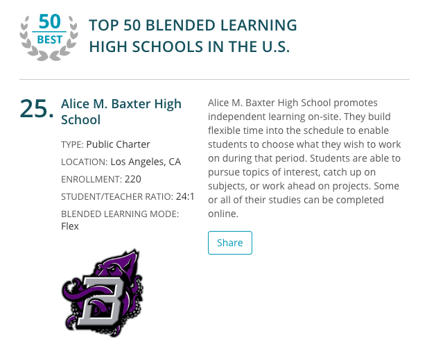 TOP 50 BLENDED LEARNING HIGH SCHOOLS IN THE U.S. Thumbnail Image