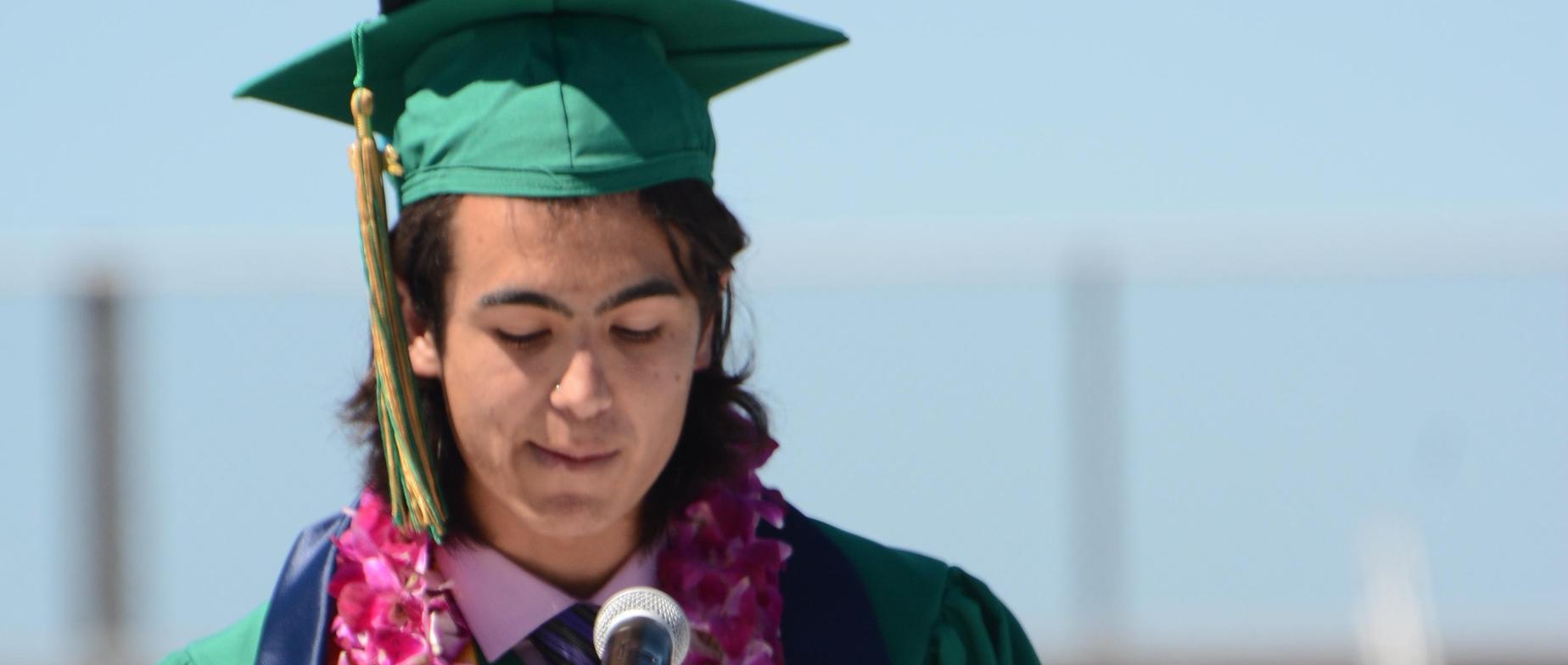 Student at Graduation Podium
