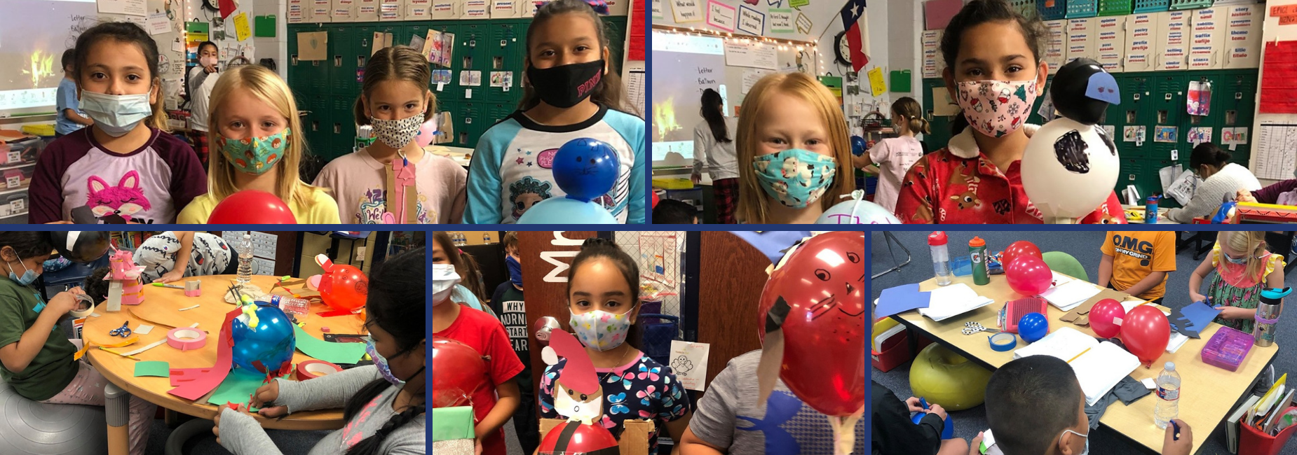 collage of students showing off their balloon projects