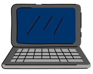 Grey laptop with navy blue screen