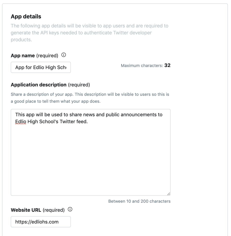 enter app details