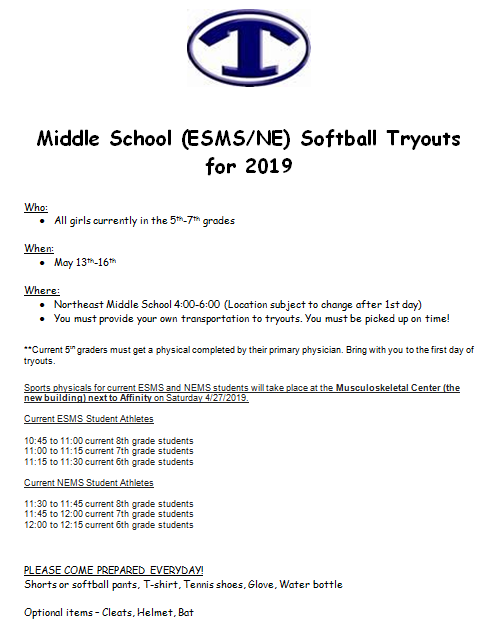 Middle School (ESMS/NE) Softball Tryouts for 2019 Featured Photo
