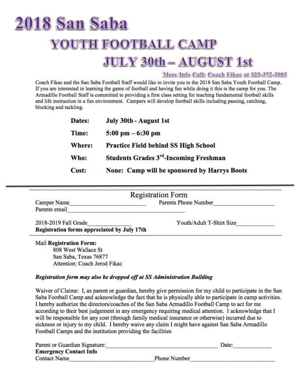 Dillo Football Camp Info