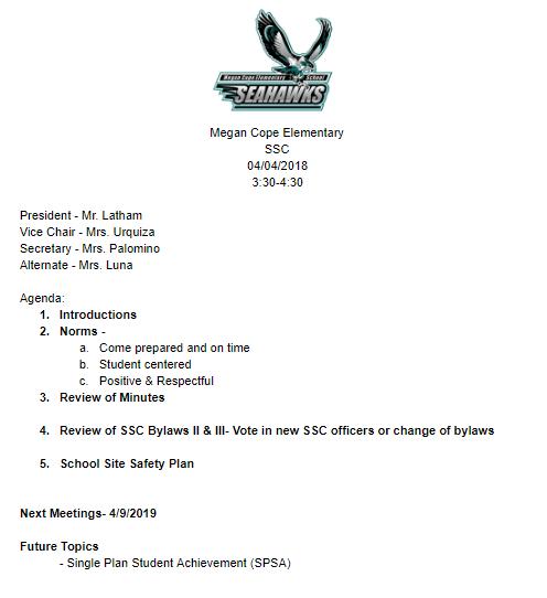 04/04/2019 Meeting Agenda