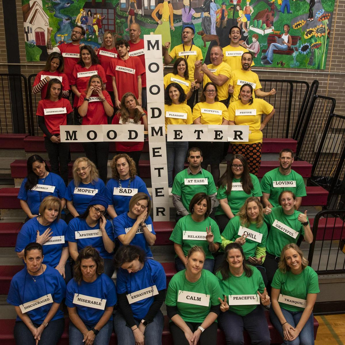 Hillside Intermediate School Staff Make a Human Mood Meter