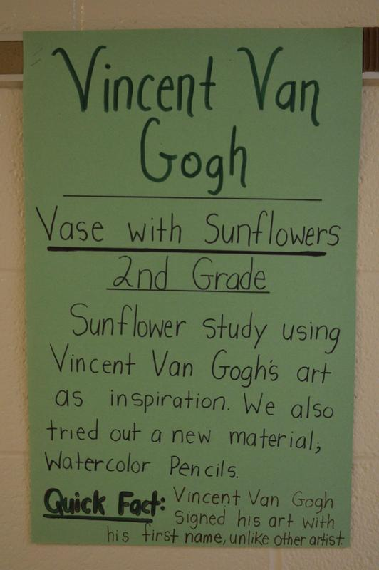 A description of the sunflowers that second grade students created during their art study of Vincent Van Gogh.
