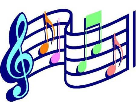 Music notes in blue, orange, pink, and lime green