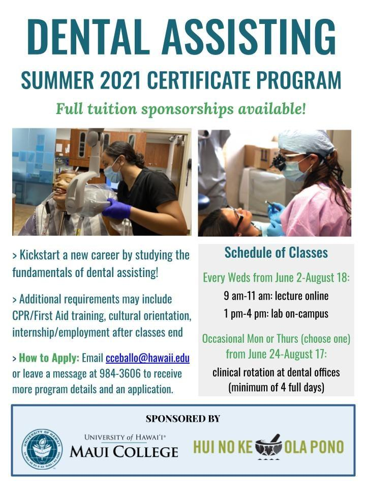 Dental Assisting Summer 2021 Certificate Program