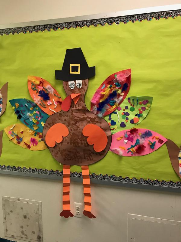 student created turkey bulletin board display