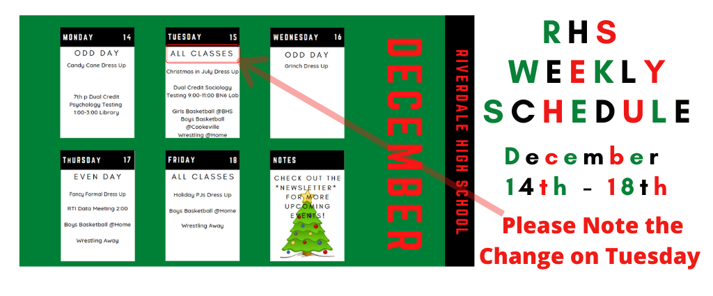Weekly Schedule 12-14-2020