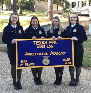 Agricultural Advocacy Team with 2nd Place State Banner
