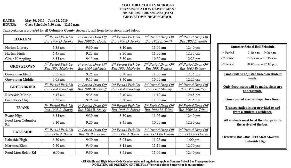 2019 summer school bus schedule