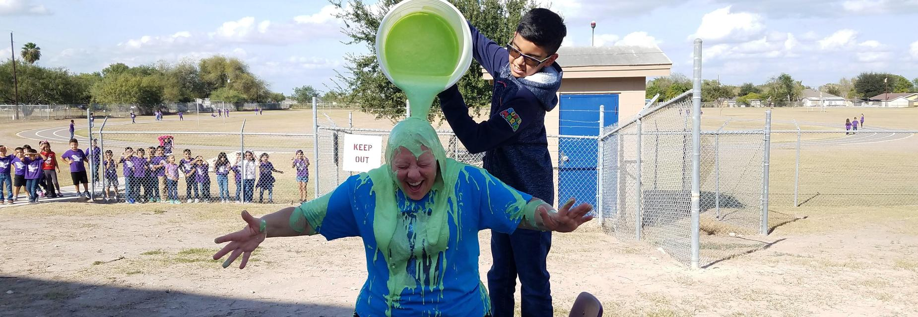 Coach getting slimed by a student