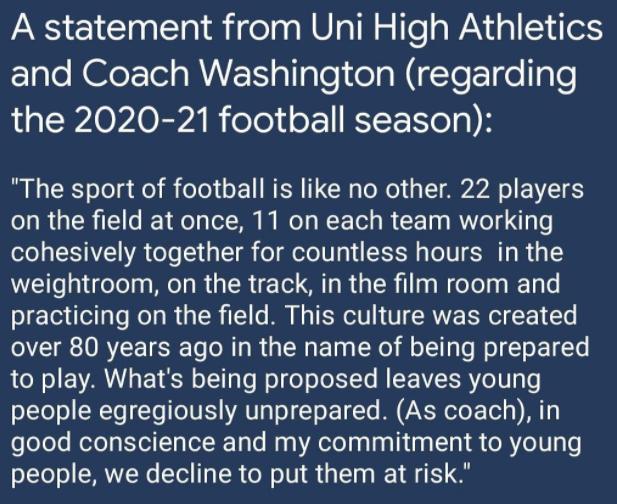 03-05-21 statement regarding Uni High football in 2020-21 season