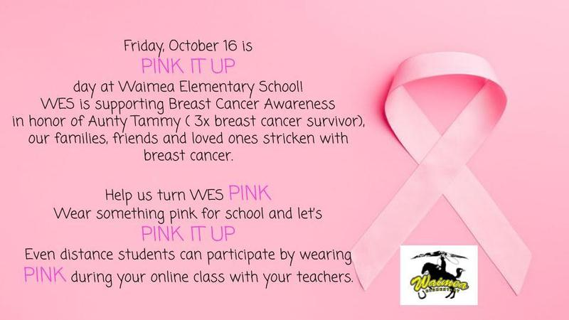 Pink it up Day flyer - Oct 16 is wear pink day for breast cancer awareness month