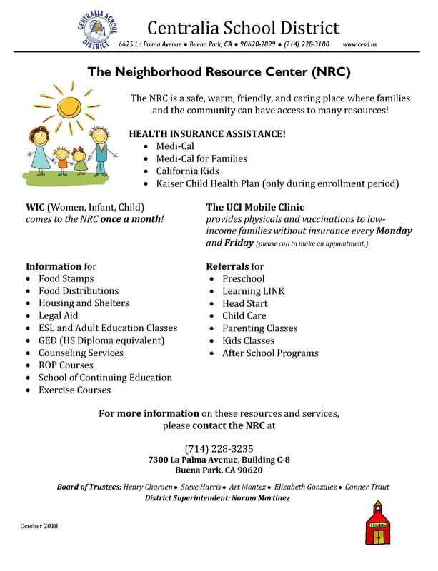 NRC Flyer sharing the programs that NRC offers families and their new location on the Walter Knott Campus