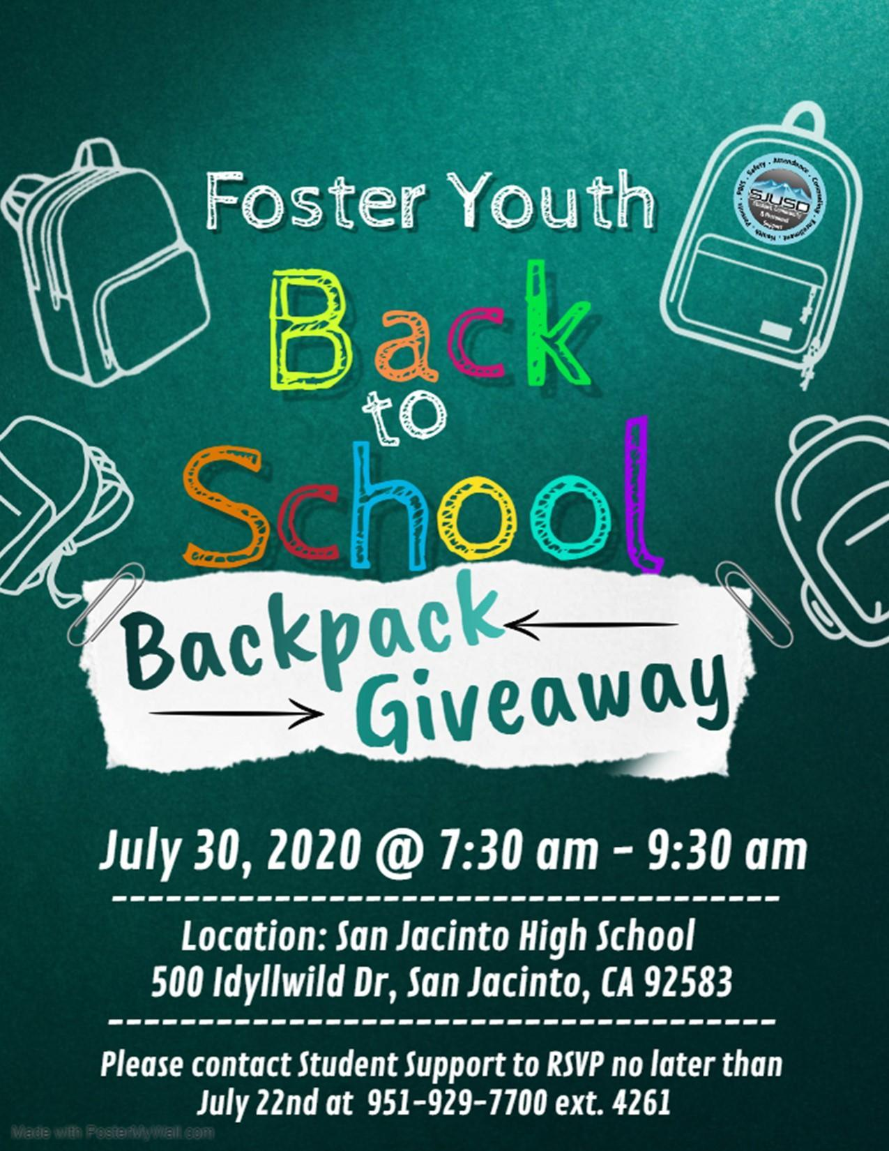 Foster Youth July 30, 2020 Backpack giveaway.