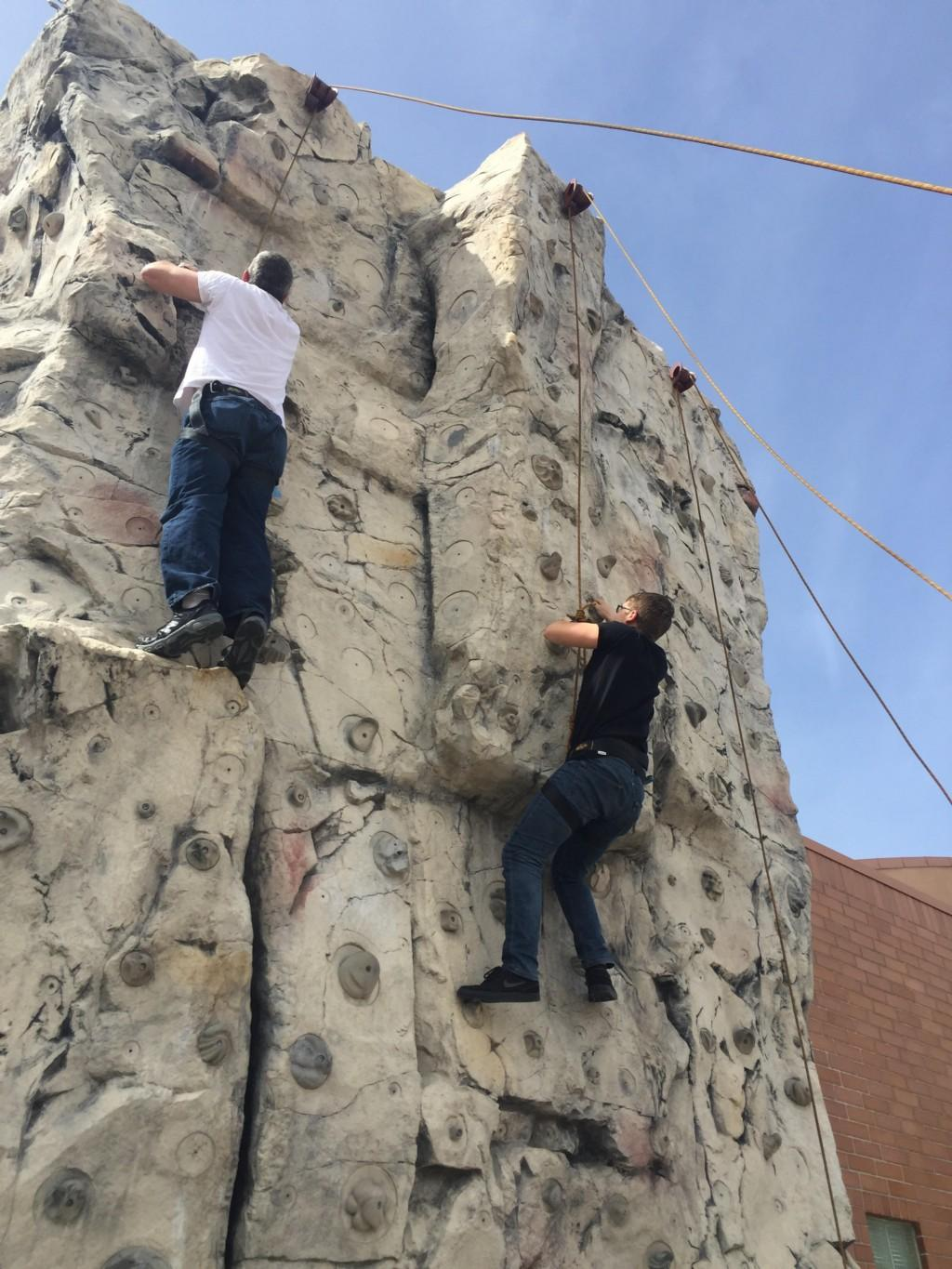 La Mesa Staff Climbing the Wall