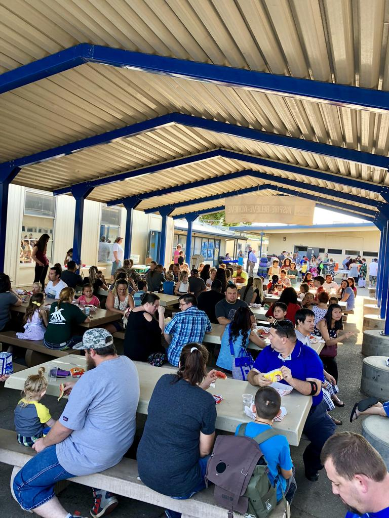 We had a great turn out for our Back to School nite. Picnic tables were full with families eating and spending time together.
