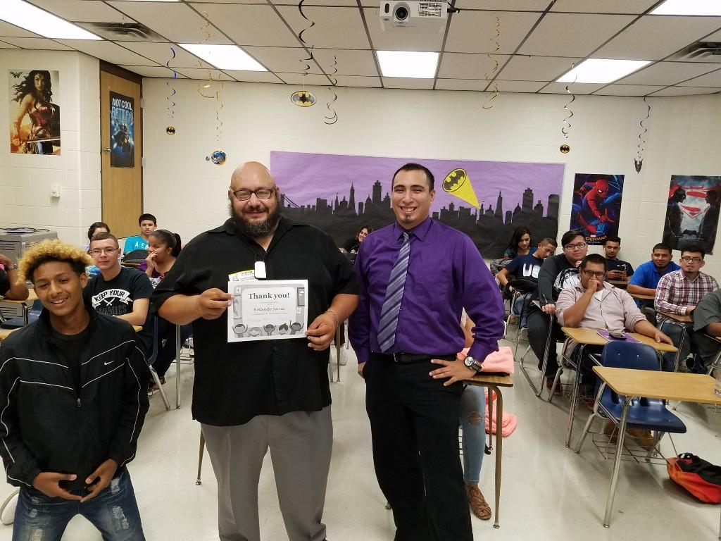 Mr. Serna (left) and Mr. Zavala (right) in front of the class.