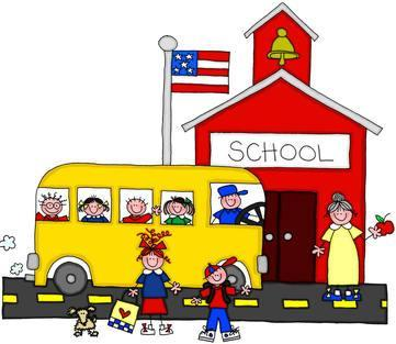 School House with Bus and Students